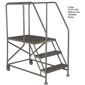 "Mobile 4 Step Steel 24""W X 36""L Work Platform Ladder With Handrails"