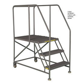 "Mobile 5 Step Steel 24""W X 48""L Work Platform Ladder With Handrails"