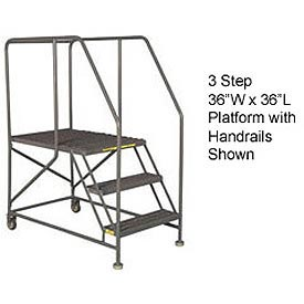 "Mobile 3 Step Steel 36""W X 36""L Work Platform Ladder With Handrails"