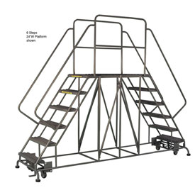"4 Step Steel Double Entry Mobile Platform - 60""L x 24""W - WLDS142457"