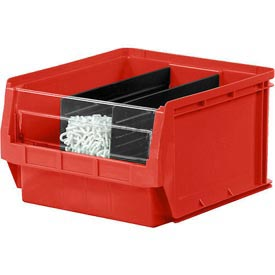 Quantum Magnum Plastic Stackable Storage Bin QMS533 12-3/8 x 19-3/4 x 11-7/8 Red - Pkg Qty 3