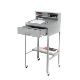 "23""W x 20""D Open Leg Mobile Shop Desk - Gray"