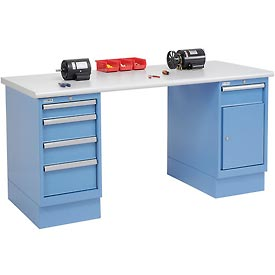 72 x 30 Plastic Safety Edge 4 Drawer & Cabinet Workbench