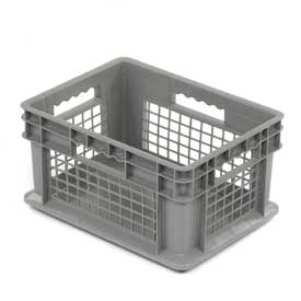 "Akro-Mils Straight Wall Container 37278 Mesh Sides Solid Base 15-3/4""L x 11-3/4""W x 8-1/4""H, Gray - Pkg Qty 12"