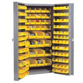 "Bin Cabinet Deep Door with 144 Yellow Bins, 16-Gauge Unassembled Cabinet 38""W x 24""D x 72""H, Gray"