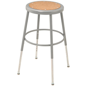 "Shop Stool with Hardboard Seat – Adjustable Height 18""-27"" - Gray - Pkg Qty 2"