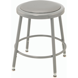 "Shop Stool with Padded Seat - Adjustable Height 18"" - 27"" - Gray - Pkg Qty 2"
