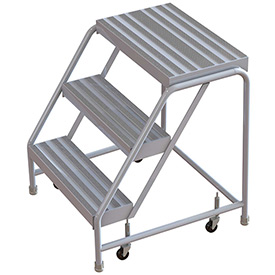 "3 Step Aluminum Rolling Ladder, 16""W Ribbed Step, W/O Handrails"