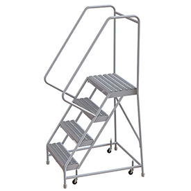 "4 Step Aluminum Rolling Ladder, 16""W Grip Step, 30"" Handrails"