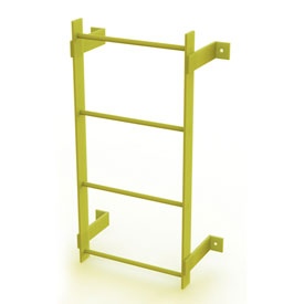 4 Step Steel Standard Uncaged Fixed Access Ladder, Yellow - WLFS0104-Y