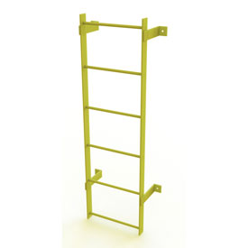 6 Step Steel Standard Uncaged Fixed Access Ladder, Yellow - WLFS0106-Y