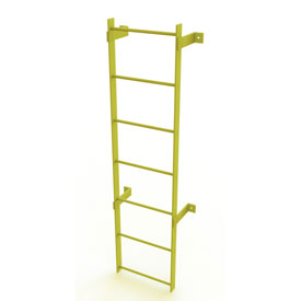 7 Step Steel  Standard Uncaged Fixed Access Ladder, Yellow - WLFS0107-Y