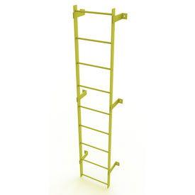 9 Step Steel Standard Uncaged Fixed Access Ladder, Yellow - WLFS0109-Y