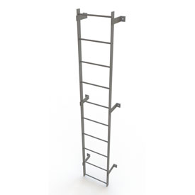 10 Step Steel Standard Uncaged Fixed Access Ladder, Gray - WLFS0110