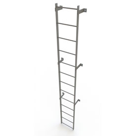 13 Step Steel Standard Uncaged Fixed Access Ladder, Gray - WLFS0113