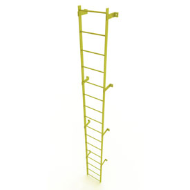 16 Step Steel Standard Uncaged Fixed Access Ladder, Yellow - WLFS0116-Y