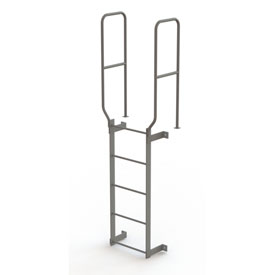 5 Step Steel Walk Through With Handrails Fixed Access Ladder, Gray - WLFS0205