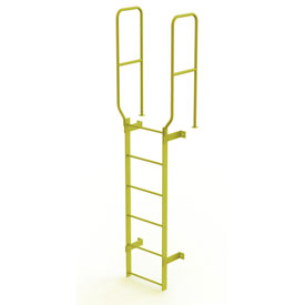 6 Step Steel Walk Through With Handrails Fixed Access Ladder, Yellow - WLFS0206-Y
