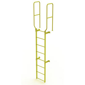 8 Step Steel Walk Through With Handrails Fixed Access Ladder, Yellow - WLFS0208-Y