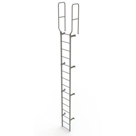 15 Step Steel Walk Through With Handrails Fixed Access Ladder, Gray - WLFS0215