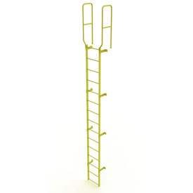 15 Step Steel Walk Through With Handrails Fixed Access Ladder, Yellow - WLFS0215-Y