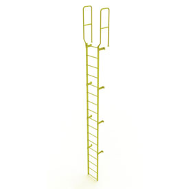 17 Step Steel Walk Through With Handrails Fixed Access Ladder, Yellow - WLFS0217-Y