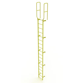 18 Step Steel Walk Through With Handrails Fixed Access Ladder, Yellow - WLFS0218-Y
