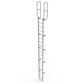 20 Step Steel Walk Through With Handrails Fixed Access Ladder, Gray - WLFS0220
