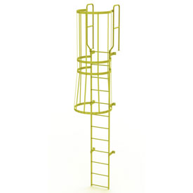 12 Step Steel Caged Walk Through Fixed Access Ladder, Yellow - WLFC1212-Y
