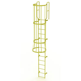 14 Step Steel Caged Walk Through Fixed Access Ladder, Yellow - WLFC1214-Y