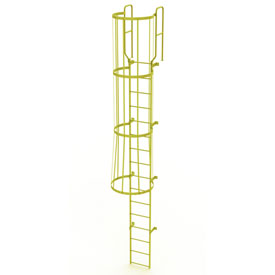 16 Step Steel Caged Walk Through Fixed Access Ladder, Yellow - WLFC1216-Y