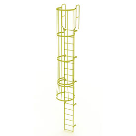 18 Step Steel Caged Walk Through Fixed Access Ladder, Yellow - WLFC1218-Y