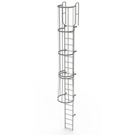 20 Step Steel Caged Walk Through Fixed Access Ladder, Gray - WLFC1220