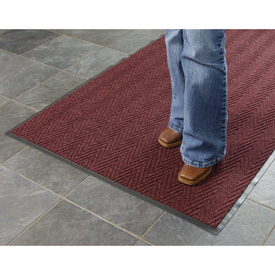 Chevron Ribbed  Mat 6 Foot Wide  Burgundy