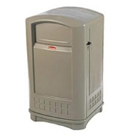 Rubbermaid Plaza Waste Receptacle, 50 Gallon - Beige