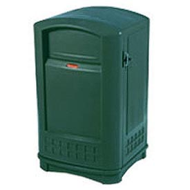 Rubbermaid Plaza Waste Receptacle With Ashtray Top - Green