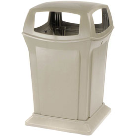Rubbermaid Ranger® 45 Gallon 4 Opening Outdoor Trash Can - Beige 9173-88