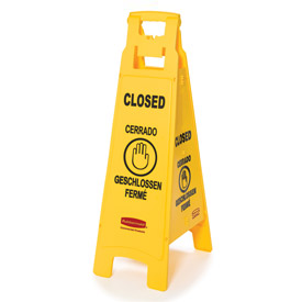 Rubbermaid® Floor Sign 4 Sided Multi-Lingual - Closed