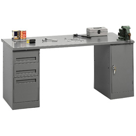 Pedestal Workbench 3-Drawer And Cabinet Pedestal