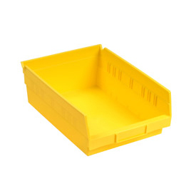 "Akro-Mils Plastic Shelf Bin Nestable 30158 - 8-3/8""W x 17-7/8""D x 4""H Yellow - Pkg Qty 12"