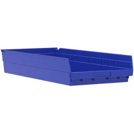 "Akro-Mils Plastic Shelf Bin Nestable 30174 - 11-1/8""W x 23-5/8""D x 4""H Blue"