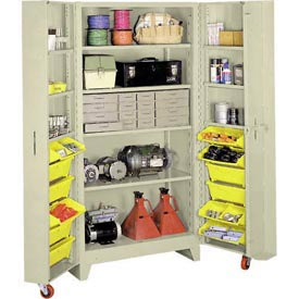 Lyon Storage Cabinet With 5 Full Shelves 12 Tilt Bins PP1127 - 38x28x76 Putty