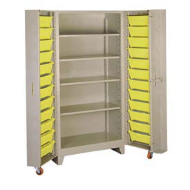 Lyon Storage Cabinet With 5 Full Shelves 24 Tilt Bins PP1125 - 38x28x76 Putty
