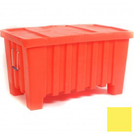"Myton Forkliftable Bulk Shipping Container MTW-2 with Lid - 43""L x 26-1/2""W x 24""H, Yellow"