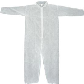 Disposable Coveralls With Open Ended Wrists/Ankles, White, L - Pkg Qty 25