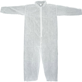 Disposable Coveralls With Open Ended Wrists/Ankles, White, M - Pkg Qty 25