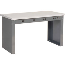 "72""W x 30""D Panel Leg Workbench With Power Apron and ESD Square Edge Top"