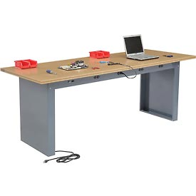"""96""""W x 36""""D Panel Leg Workbench With Power Apron and Shop Top Square Edge Top"""