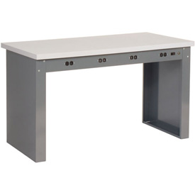 """60""""W x 36""""D Panel Leg Workbench With Power Apron and Plastic Laminate Square Edge Top"""