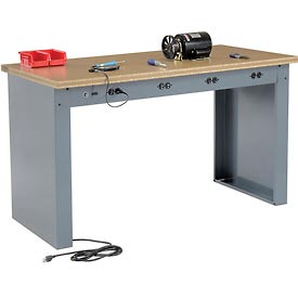 "60""W x 30""D Panel Leg Workbench With Power Apron and Shop Top Square Edge Top"